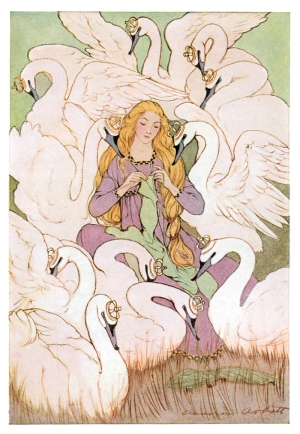 An illustration of the princess from Wild Swans, surrounded by her brothers in swan form